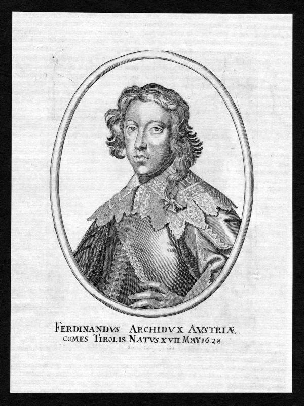 17. Jh. Ferdinand Karl Österreich Portrait Kupferstich antique print