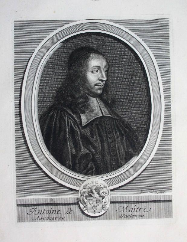 Ca. 1700 Antoine Le Maistre avocat Anwalt lawyer Portrait Kupferstich engraving