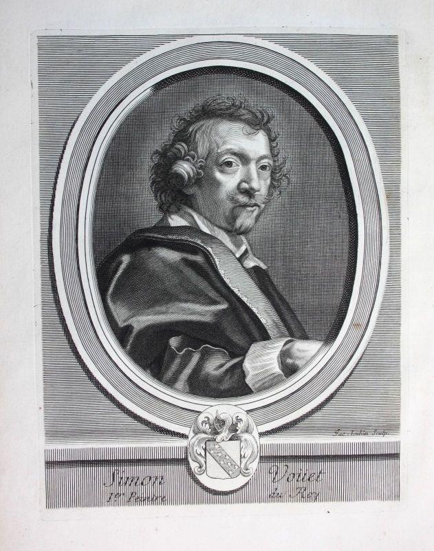 Ca 1700 Simon Vouet peintre Maler painter Portrait Kupferstich engraving gravure
