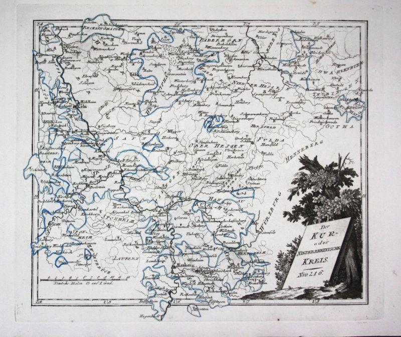 1790 Mainz Mannheim Heidelberg rhein Köln Fritzlar Fulda Karte Reilly