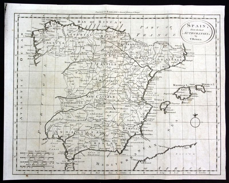 Ca. 1790 Espana Spain Spanien Murcia Granada Karte map Kupferstich engraving
