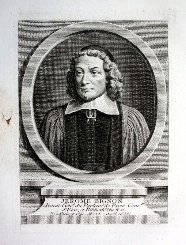 18. Jh. Jerome Bignon lawyer avocat Kupferstich Portrait engraving gravure