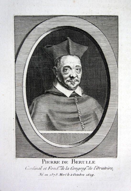 18. Jh. Pierre de Berulle theologien Kupferstich Portrait engraving gravure