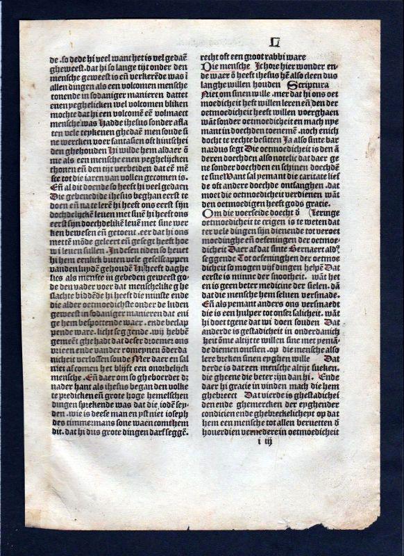 1499 Blatt L Inkunabel Vita Christi Zwolle incunable Dutch Holland