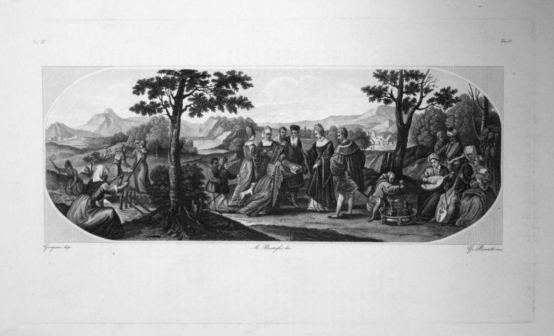 1840 Giorgio da Castelfranco - Moise Sauve des Eaux Radierung engraving gravure