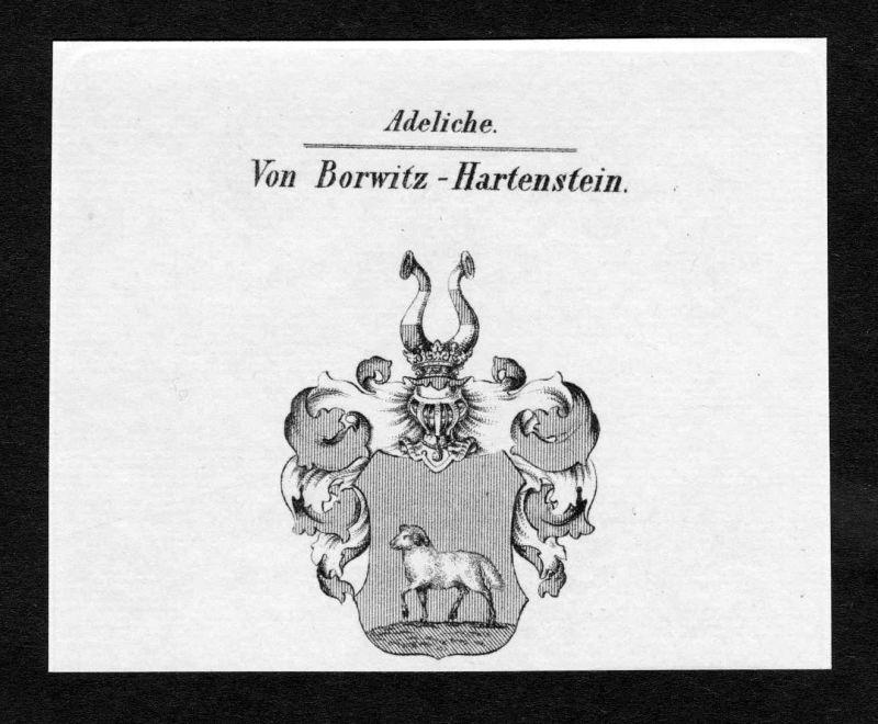 Ca. 1820 Bowitz Hartenstein Wappen Adel coat of arms Kupferstich antique print