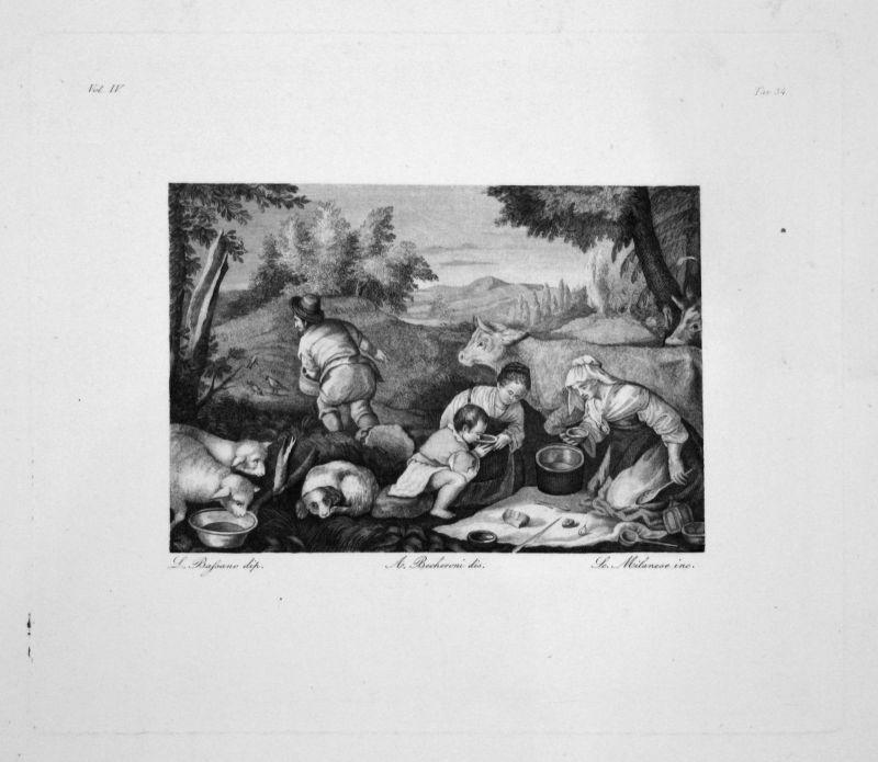 Leandro Bassano Scene Champetre Radierung engraving gravure