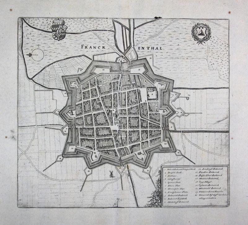 1698 Frankenthal Ansicht view Karte map Kupferstich antique print Merian