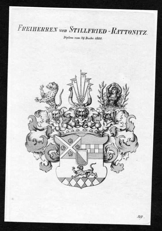 Ca.1820 Stillfried-Rattonitz Wappen Adel coat of arms Kupferstich antique 129320