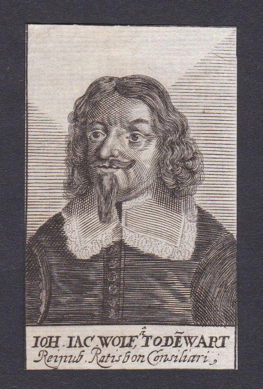 17. Jh. -  Johann Wolff Todewart / consultant Regensburg Portrait Kupferstich