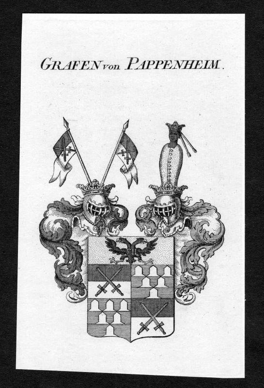 Ca. 1820 Pappenheim Wappen Adel coat of arms Kupferstich antique print heraldry