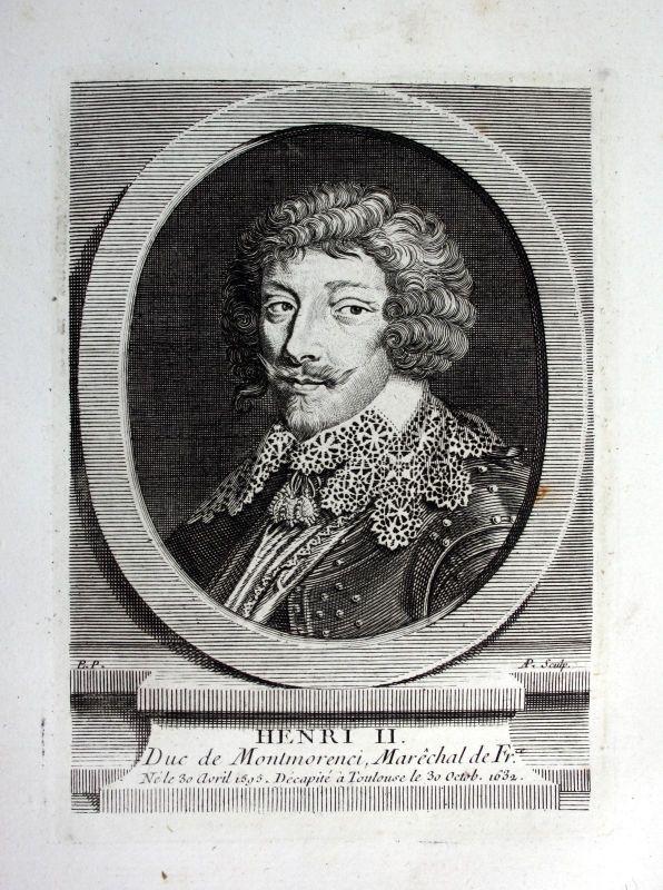 18. Jh. Henri II de Montmorency Kupferstich Portrait engraving gravure military