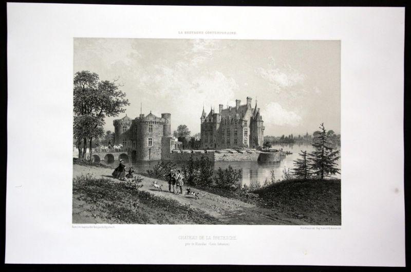 1860 Chateau de la Bretesche vue Schloss Bretagne Frankreich France Lithographie
