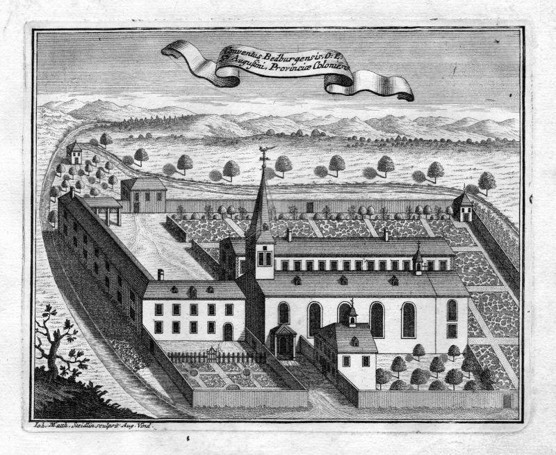 1731 Bedburg Köln Augustiner Kloster Kupferstich antique print Steidlin
