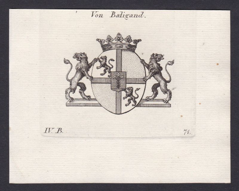 1820 Baligand Wappen Adel coat of arms Heraldik Kupferstich antique print