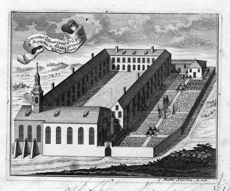 1731 Colmar Alsace Augustiner Kloster gravure Kupferstich antique print Steidlin