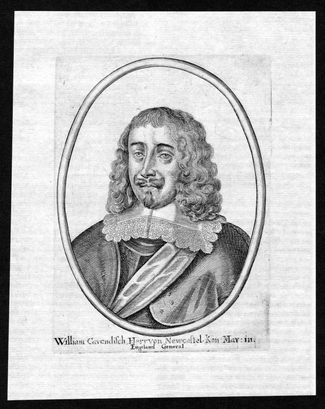 17. Jh. William Cavendish Duke of Newcastle Portrait Kupferstich antique print