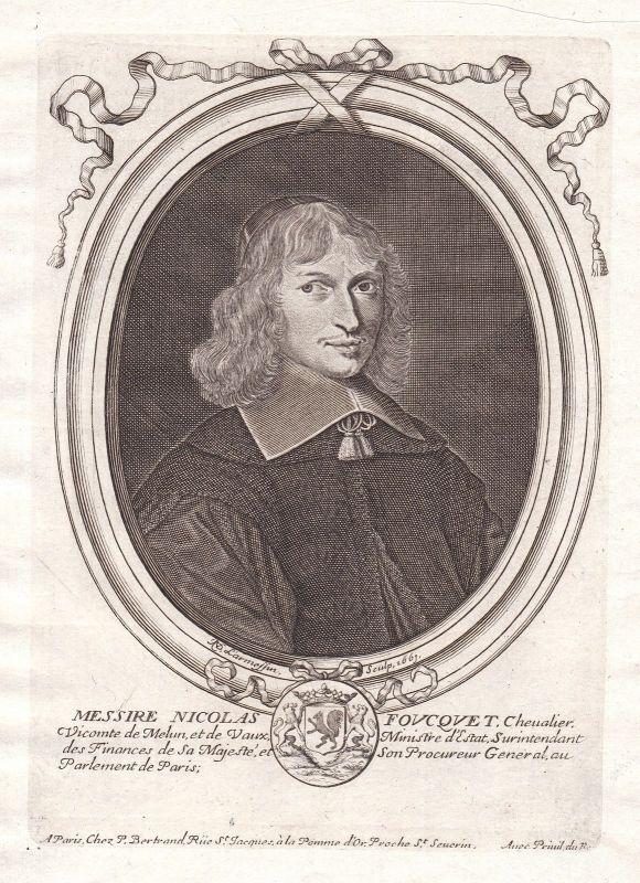 1661 Nicolas Fouquet Portrait Kupferstich engraving gravure Nicolas de Larmessin