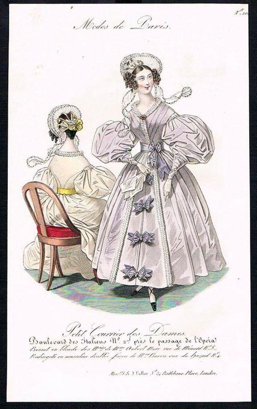 1833  Biedermeier Mode Kupferstich victorian fashion antique print Paris e 61720