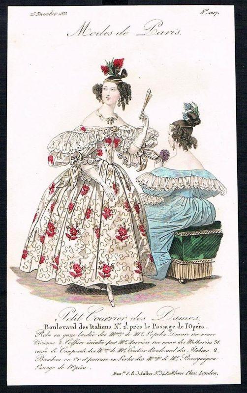 1833  Biedermeier Mode Kupferstich victorian fashion antique print Paris e 89254