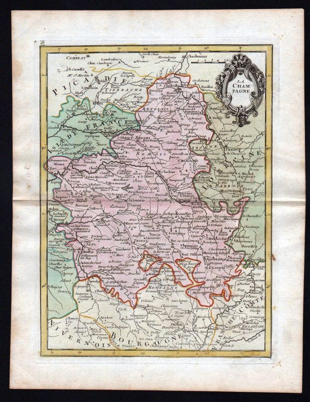 1767 Champagne France gravure carte Karte map Kupferstich antique print Le Rouge