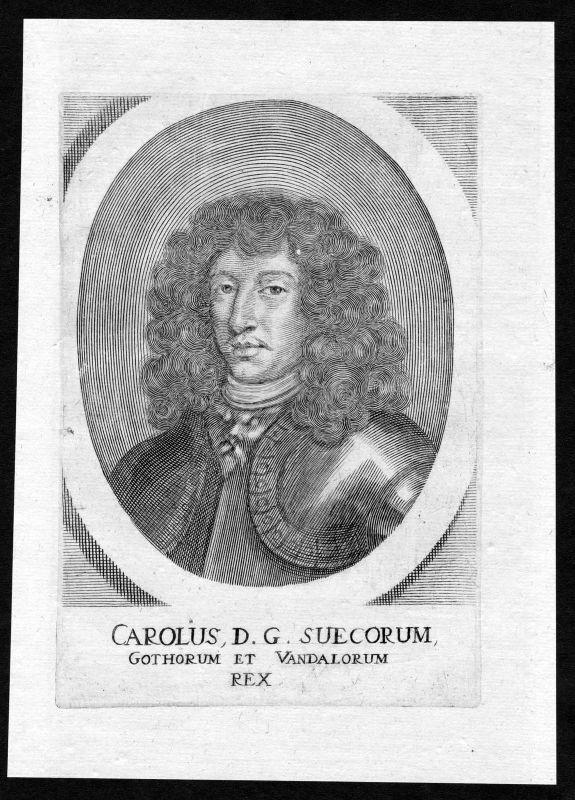 17. Jh. Karl XI kung Sverige Sweden king Portrait Kupferstich antique print