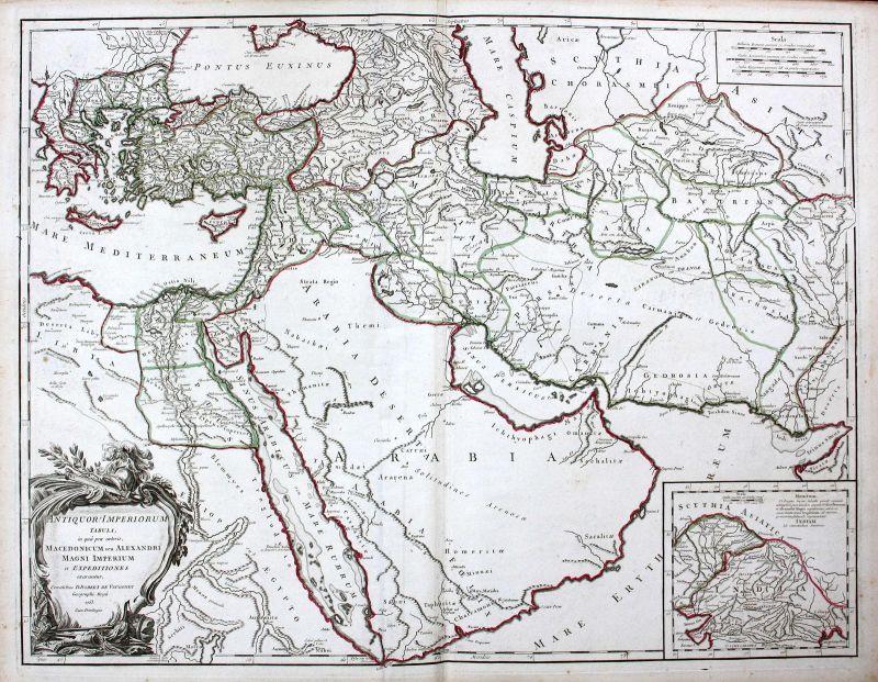 1753 Mazedonien Macedonia Arabia Arabien Ägypten Egypt Karte map Kupferstich