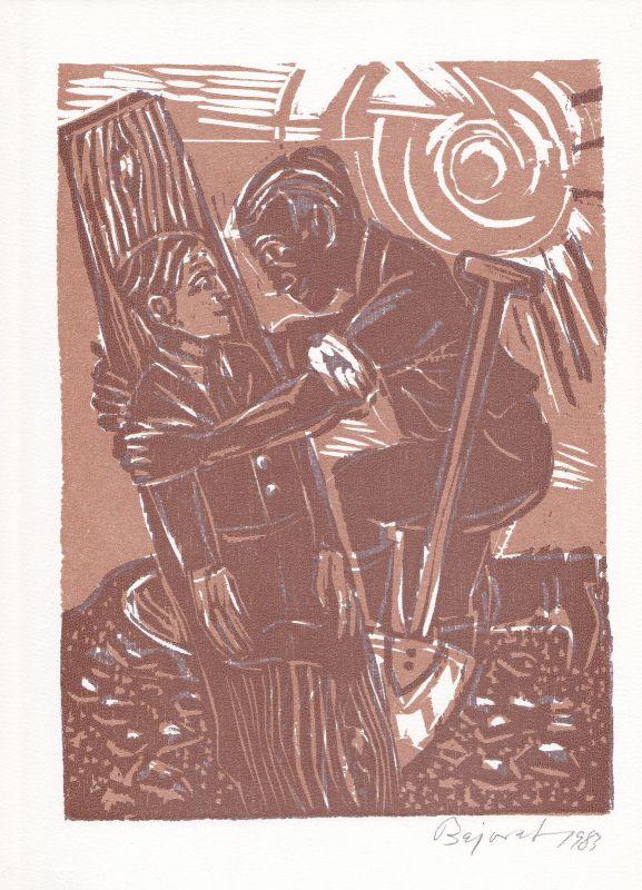 1983 Archibald Bajorat Martin Luther Holzschnitt zu einem Gedicht signiert