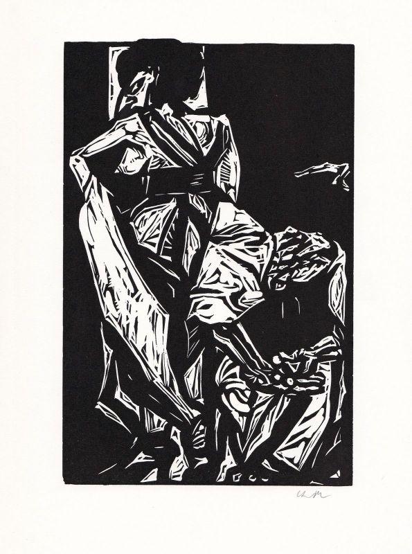 1969 Benno Huth Linolschnitt Catull Carmen Mädchen mit Größenwahn signiert
