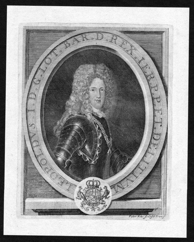 17. Jh. Leopold Lothringen Bar Lorraine gravure Portrait Kupferstich antique