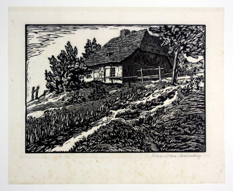 Haus am Aschberg Original Holzschnitt signiert Richard Grimm Sachsenberg
