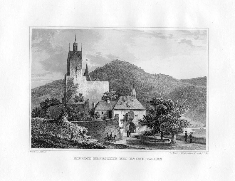 1850 USchloss Eberstein Baden Baden-Württemberg Stahlstich Emden Schönfeld