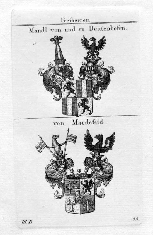 Mandl Deutenhofen Mardefeld - Wappen Adel coat of arms heraldry Heraldik Kupfers