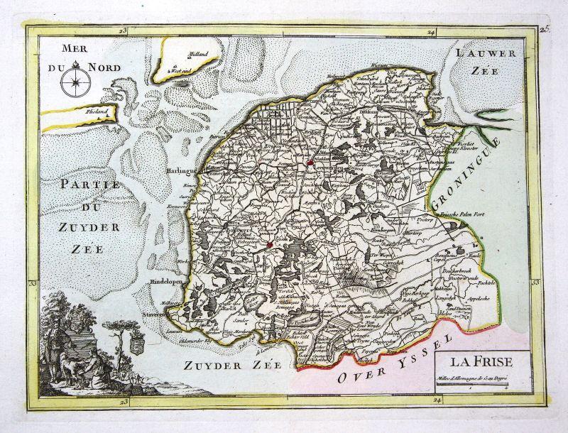 1767 Friesland Leeuwarden Nederland Karte map Kupferstich antique print L 159507
