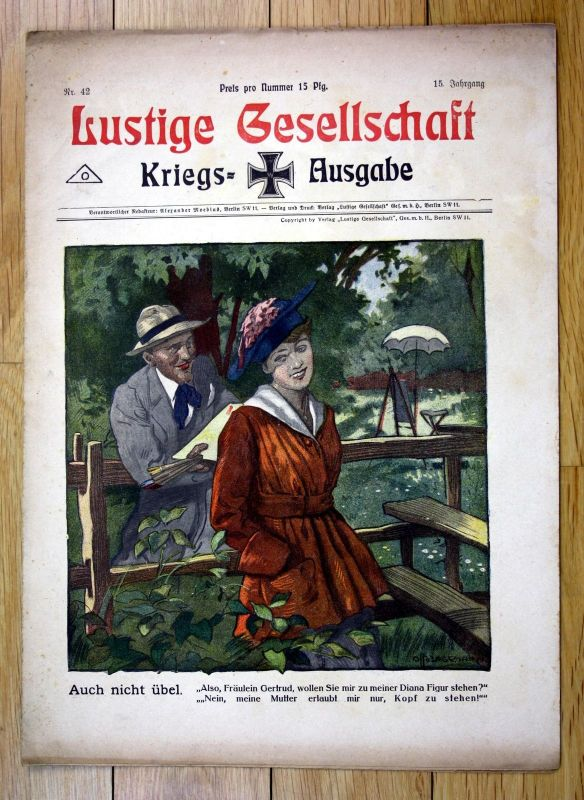 1918 Zeitschrift Karikatur Kriegsausgabe Nr 42 15. Jahrgang lustige Gesellschaft