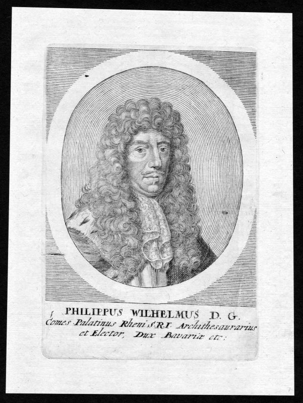 17. Jh. Philipp Wilhelm Pfalz Herzog Portrait Kupferstich antique print