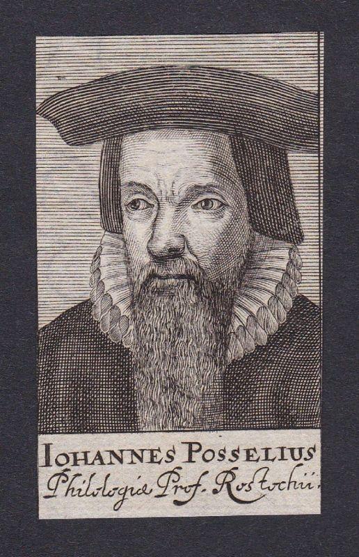 17. Jh. Johannes Posselius professor Professor Rostock Portrait Kupferstich