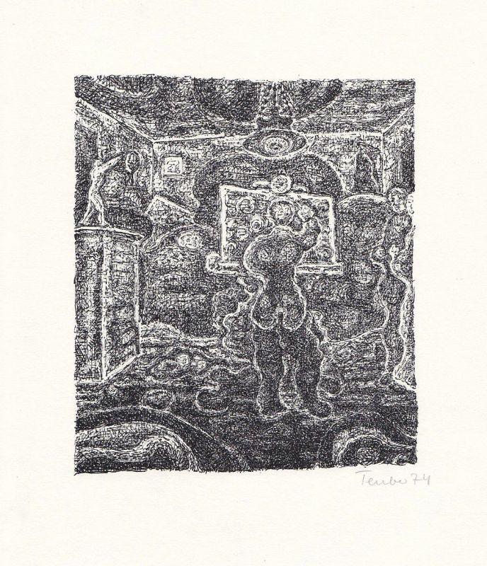 1974 Gottfried Teuber Robert Kirchner Lithographie zu einem Text signiert