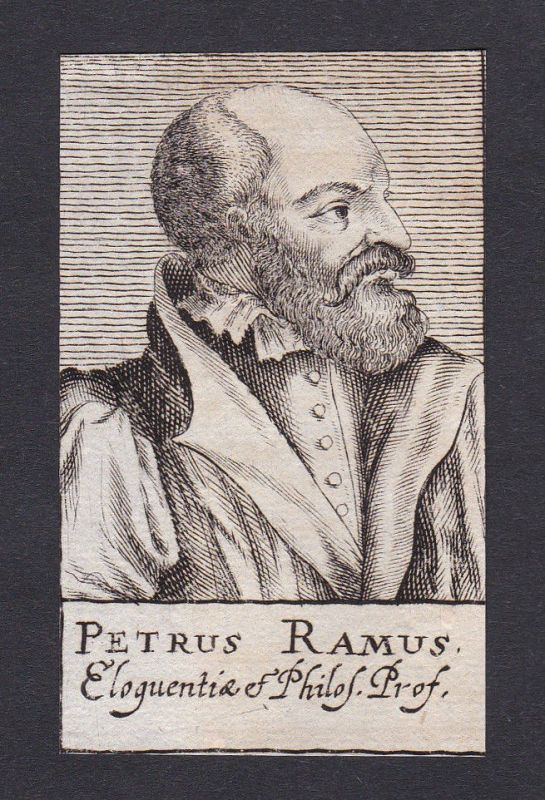 17. Jh. Petrus Ramus / philosopher Philosoph Soissons Portrait Kupferstich