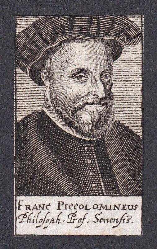 17. Jh. Francesco Piccolomini / professor Philosoph Siena Portrait Kupferstich