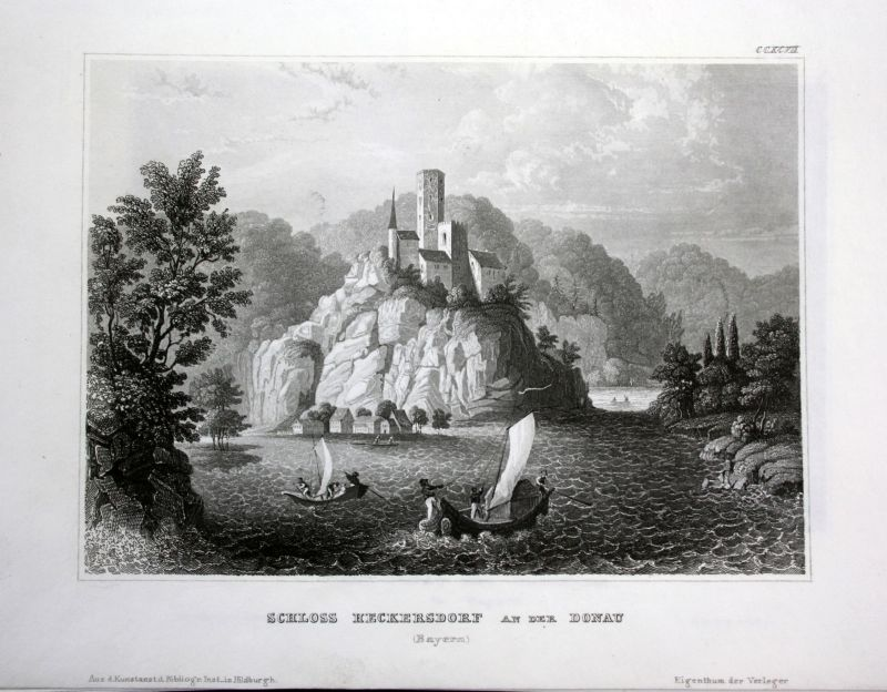 Ca. 1850 Schloss Heckersdorf Donau Danube Ansicht Stahlstich antique print