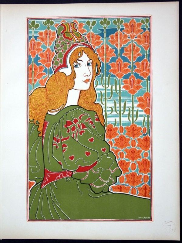 1897 Louis Rhead Art Nouveau Jugendstil Lithographie Poster estampe Moder 113255