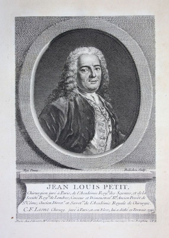 18. Jh. Jean Louis Petit surgeon professor Paris gravure Kupferstich Portrait