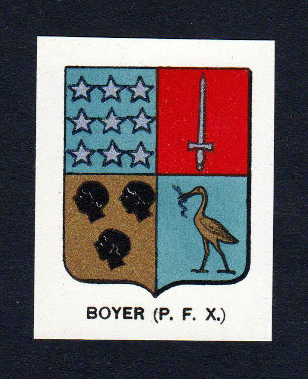 Ca. 1880 Boyer Wappen Adel coat of arms heraldry Lithographie antique pri 146118