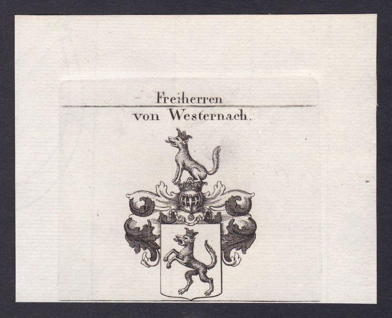 1820 Westernach Schwaben Wappen Adel coat of arms Kupferstich antique print