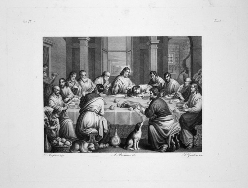 1840 Leandro Bassano Cenacle Radierung engraving gravure