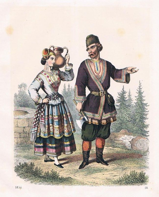 1856 - Russland Russia Russen Tracht Trachten costumes Lithographie lithography