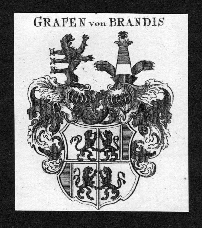 1820 - Brandis Wappen Adel coat of arms heraldry Heraldik Kupferstich
