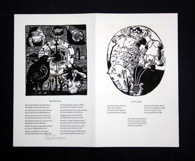 1990 Went Strauchmann Original-Linolschnitt zu