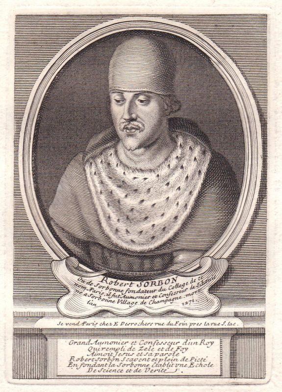 17. Jh Robert de Sorbon Paris theologien gravure Portrait Kupferstich antique